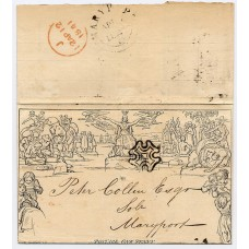 1840 1d black Mulready envelope displaced stereo A11 addressed to Maryport