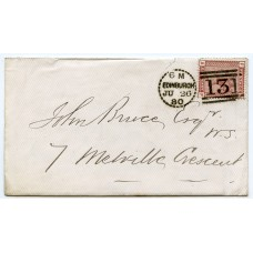 1880 cover 1d venetian red with rare Edinburgh dotted circle d.s. Type C2