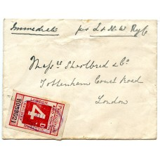 1907 cover with London + NW Railway 4d Parcel Stamp KINGS LANGLEY + label