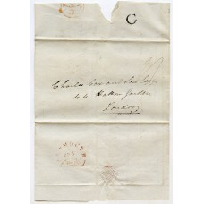"""1838 entire to London from PLYMOUTH TOWN SUB-OFFICE with """"C"""" h/s"""
