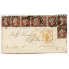 """1855 1d red-brown Die II, Alp II, LC Perf 14, plate 11, two strips of four lettered RA/RD and SA/ TC on an envelope paying the 8d rate to Hamburg, Germany, each being tied by the """"324"""" numeral in black ink of Thurso, Caithness"""