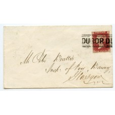 "Argyllshire. 1857 1d rose-red on an envelope addressed to Glasgow being tied by the ""DUROR DUROR"" type IV ""Scots Local"" handstamp"