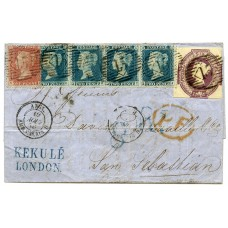 1854 6d dull lilac embossed issue together with a 1d Die II, L.C. Perf 14 issue l/t NF + a horizontal strip of four of the 2d blue L.C. Perf 14 issue l/t QG/QJ on cover paying the 1/3d rate to San Sebastian, Spain
