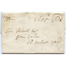 "1794 an entire wrapper addressed within London with ""Not Pd"" in manuscript and verso experimental Westminster timemark /datestamp ""7 o'Clock 11 NO 94 EVEN"""