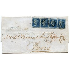 1858 2d blue (thick lines) plate 8, a horizontal strip of three + a single on cover paying the double 8d rate to Paris