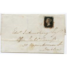 Ireland 1840 cover with 1d black Pl. 6 from Ballyshannon to Dublin