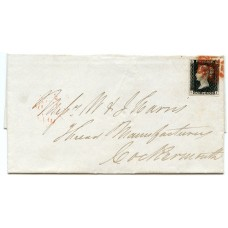 1840 cover with 1d black Pl. 4 from Glasgow to Cockermouth