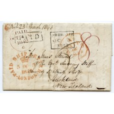 1842 SCARCE cover from Arbroath to New Zealand with London Crown Ship Letter h/s