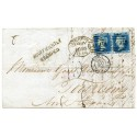 1855 cover to France with pair 2d pale blue pl.4 tied LIVERPOOL SPOON duplex