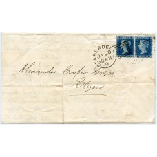 1858 cover to Elgin with pair  2d blue Pl. 5 OK/OL  tied  Aberdeen experimental duplex