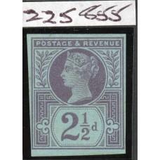 1887 2½d pale purple on blue,  scarce imprimatur . Spec. No. K31(1)ab. R.P.S.,L. Cert.