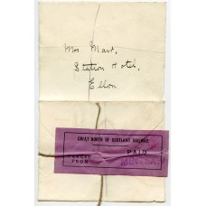 c. 1875 cover with violet Great North of Scotland Railway Paid Parcel label