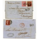 "GB - Portugal 1859-61 two covers with Late Fee use of 1d stars, Portuguese rate ""80"""