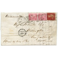 GB - New Zealand 1860 cover Kircaldy to Wellington 1d rose-red, pair 4d rose-carmine