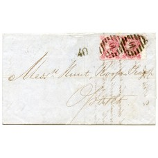 "GB - Portugal 1863 cover to Oporto with pair 1862 3d carmine rose, Portuguese rate ""40"""