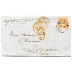 "1856 cover Melbourne to London with 6d woodblock - very fine ""5d"" credit mark"